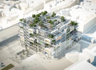 Nová vídeňská IKEA – fasáda plná stromů a žádná parkovací místa