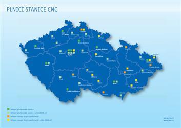 Stávající aplánované stanice CNG do roku 2010