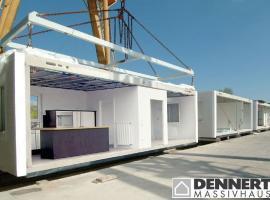 Na staveništi se dům ICON skládá zmasivních modulů zodlehčeného betonu