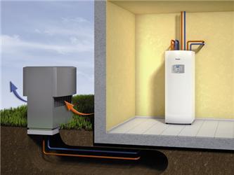 Vzduchové tepelné čerpadlo svnitřní jednotkou ACM Combi Modul – schéma zapojení. Zdroj: Junkers