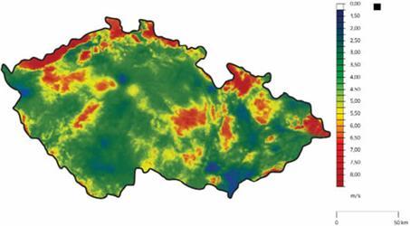 Větrná mapa České republiky Zdroj: Ústav fyziky atmosféry AV ČR